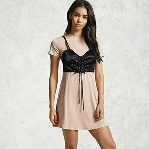 Light Pink Satin Corset T-Shirt Dress